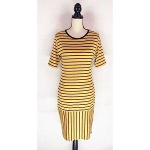 Lularoe Julia Dress Striped Yellow & Black Large